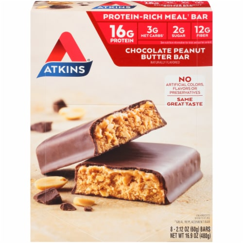 Atkins  Meal Bar Chocolate Peanut Butter - 8 Count Perspective: front