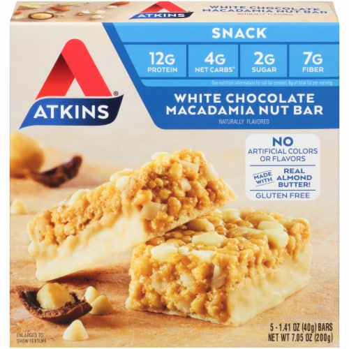 Atkins White Chocolate Macadamia Nut Snack Bar 5 Count Perspective: front