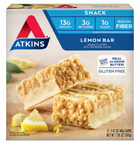 Atkins Lemon Snack Bars 5 Count Perspective: front