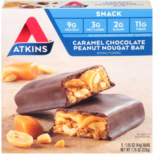 Atkins Caramel Chocolate Peanut Nougat Bars 5 Count Perspective: front