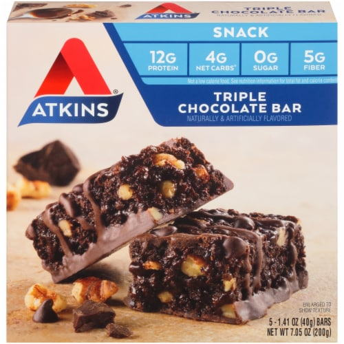 Atkins Triple Chocolate Snack Bars 5 Count Perspective: front