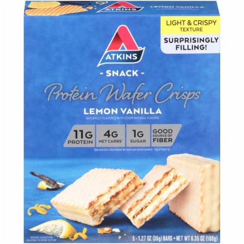 Atkins Lemon Vanilla Protein Wafer Crisps Perspective: front