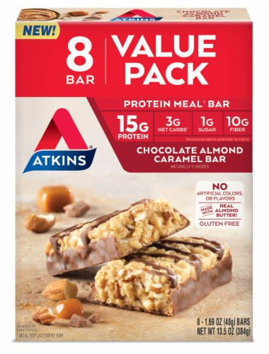 Atkins Chocolate Almond Caramel Protein Meal Bars Perspective: front
