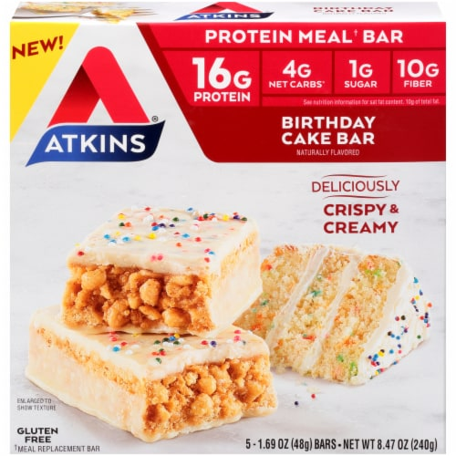 Atkins Birthday Cake Protein Meal Bars Perspective: front