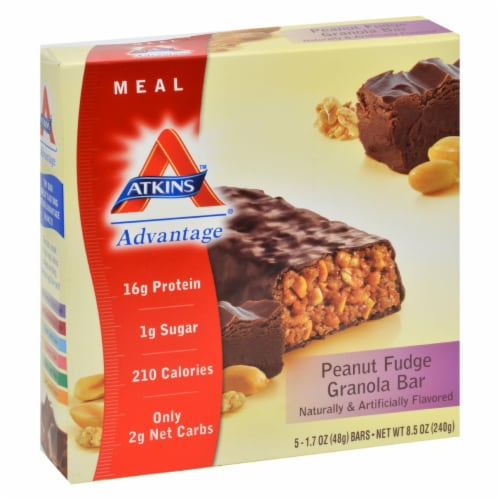 Atkins Protein-Rich  Peanut Fudge Granola Meal Bars 5 Count Perspective: front