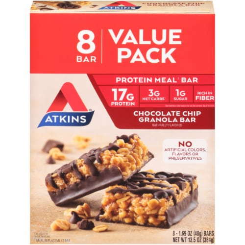 Atkins Chocolate Chip Granola Bars Perspective: front