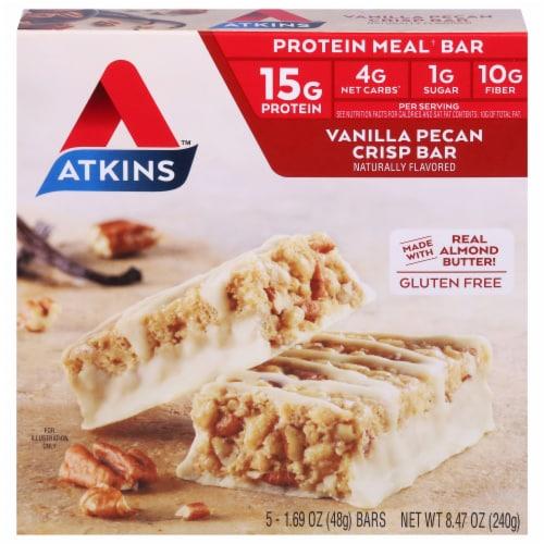 Atkins Vanilla Pecan Crisp Bars 5 Count Perspective: front
