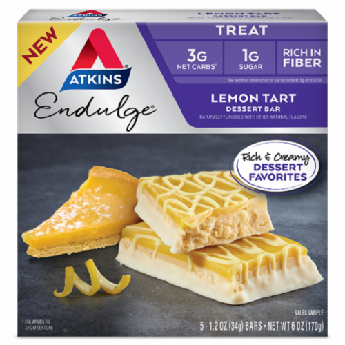 Atkins Endulge Lemon Tart Dessert Bars Perspective: front