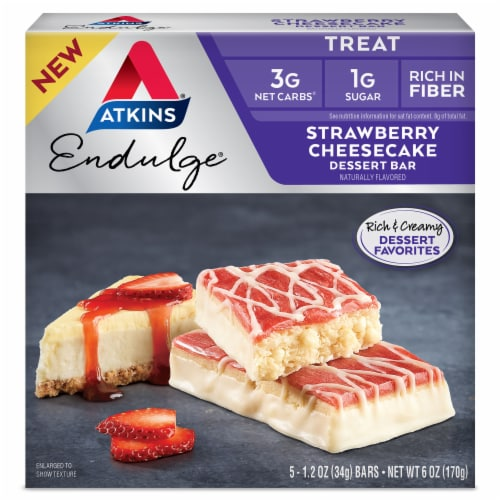 Atkins Endulge Strawberry Cheesecake Dessert Bars Perspective: front