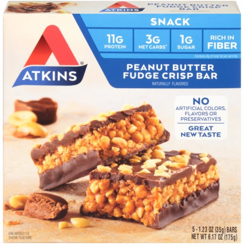 Atkins Day Break Peanut Butter Fudge Crisp Bars 5 Count Perspective: front