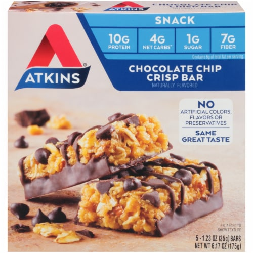 Atkins Chocolate Chip Crisp Snack Bars 5 Count Perspective: front