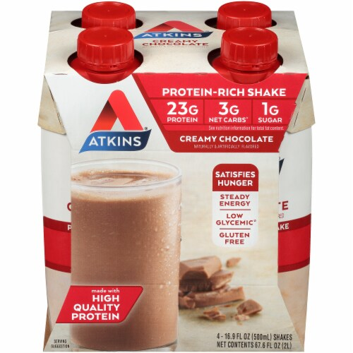 Atkins Creamy Chocolate Protein-Rich Shakes Perspective: front