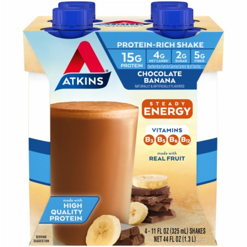 Atkins Chocolate Banana Energy Shakes Perspective: front