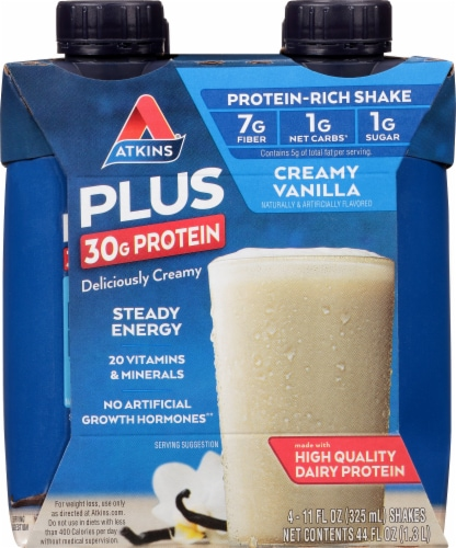 Atkins Plus Protein & Fiber Creamy Vanilla Shake Perspective: front
