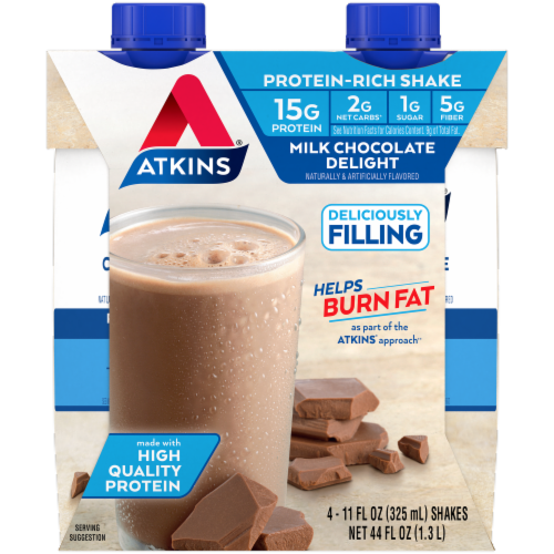 Atkins Milk Chocolate Delight Protein-Rich Shakes Perspective: front