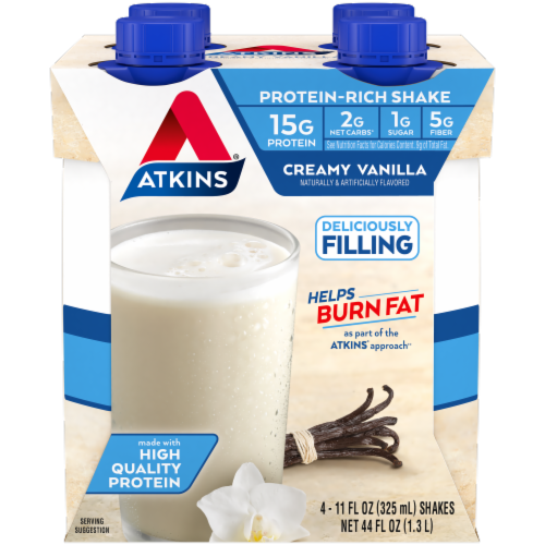 Atkins Creamy Vanilla Protein-Rich Shakes Perspective: front
