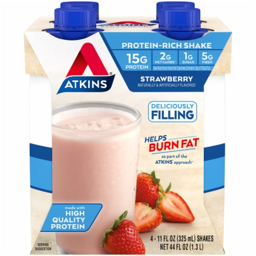 Atkins Protein-Rich Strawberry Shakes Perspective: front