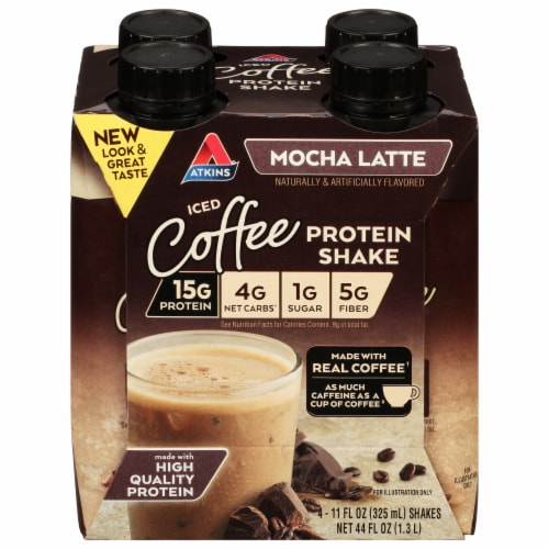 Atkins Mocha Latte Protein-Rich Shakes Perspective: front