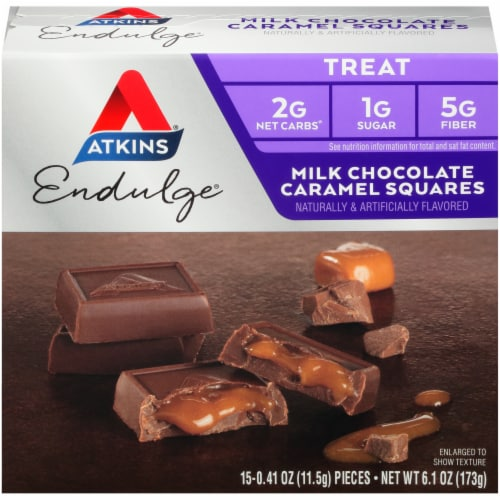 Atkins Endulge Milk Chocolate Caramel Squares Perspective: front