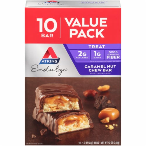 Atkins Endulge Caramel Nut Chew Bar 10 Count Perspective: front
