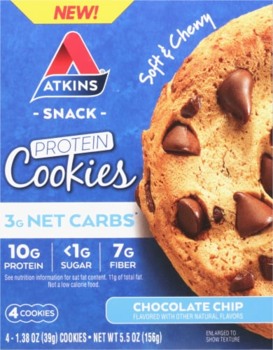 Atkins Chocolate Chip Protein Snack Cookies Perspective: front