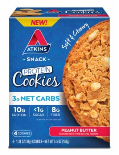 Atkins Peanut Butter Protein Snack Cookies Perspective: front