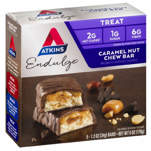 Atkins Endulge Caramel Nut Chew Treat Bars 5 Count Perspective: front