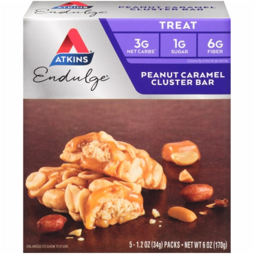 Atkins Endulge Peanut Caramel Cluster Treat Bars 5 Count Perspective: front