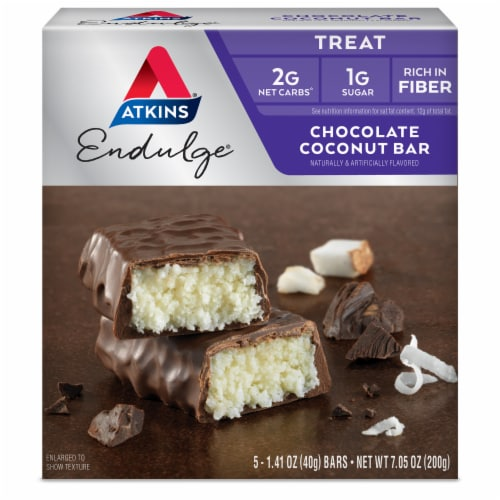 Atkins Endulge Chocolate Coconut Treat Bar 5 Count Perspective: front