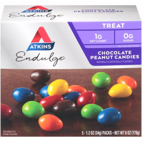 Atkins Endulge Chocolate Peanut Candy Packs Perspective: front