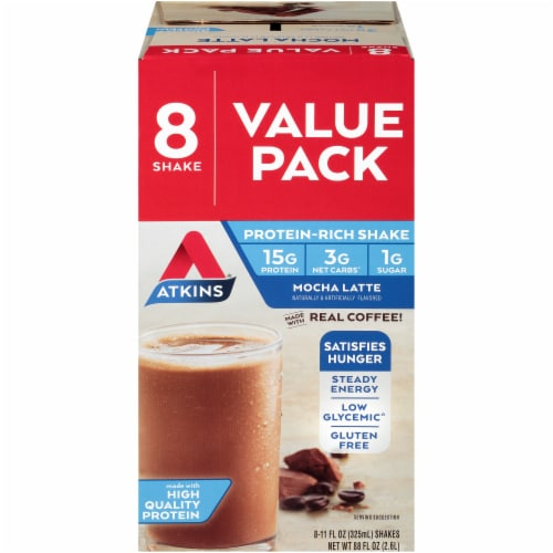Atkins Ready to Drink Mocha Latte Protein Rich Shakes - 8 Count Perspective: front