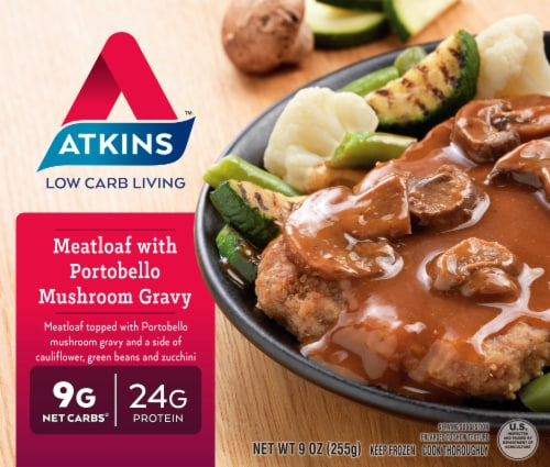 Atkins Meatloaf With Portobello Mushroom Gravy Perspective: front