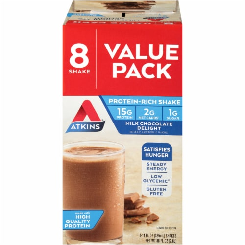 Atkins Milk Chocolate Delight Protein-Rich Shake Value Pack Perspective: front