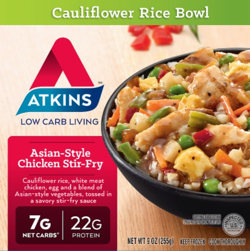 Atkins Asian-Style Cauliflower Rice Bowl Chicken Stir-Fry Perspective: front