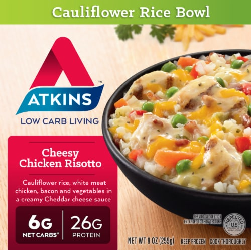 Atkins Cheesy Chicken Risotto Cauliflower Rice Bowl Perspective: front