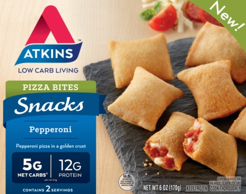 Atkins Snacks Pepperoni Pizza Bites Frozen Meal Perspective: front