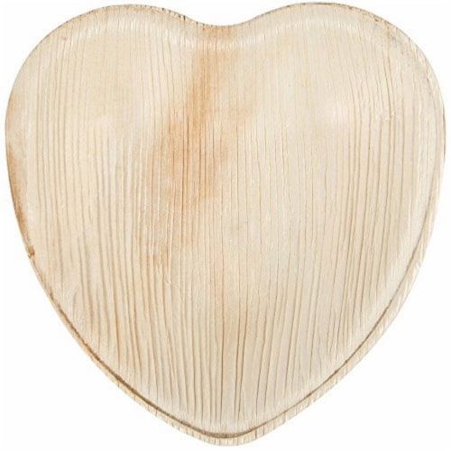 Eco-Gecko 4  HEART Palm Leaf plate / 200-ct. Case Perspective: front