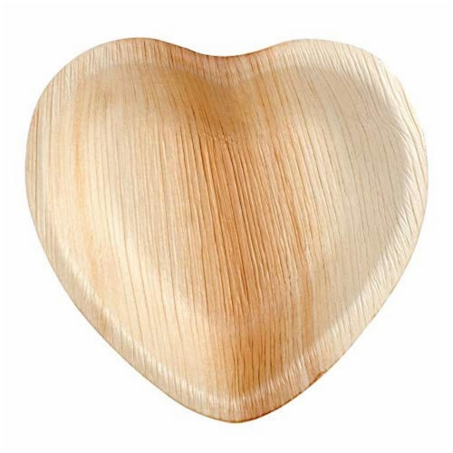 Eco-Gecko 7  HEART Palm Leaf plate / 100-ct. case Perspective: front