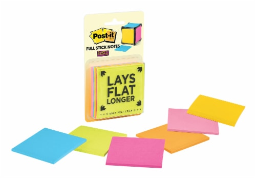 Post-it® Super Sticky Full Adhesive Notes - 6 Pack- Assorted Perspective: front