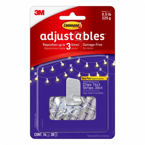Command Adjustables Repositionable 1/2-Pound Hooks Perspective: front