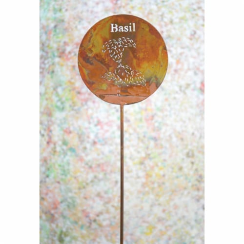 Ancient Graffiti ANCIENTAG86059 Basil Herb Stake - Pack of 4 Perspective: front