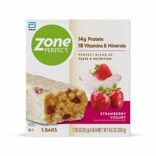 ZonePerfect Strawberry Yogurt Bars Protein Bars Perspective: front
