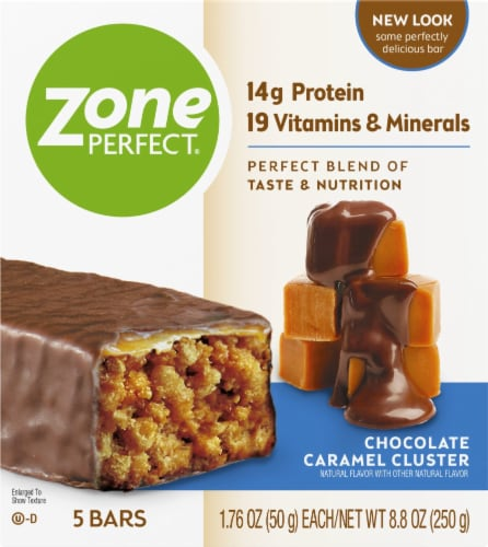 ZonePerfect Chocolate Caramel Cluster Nutrition Bars Perspective: front