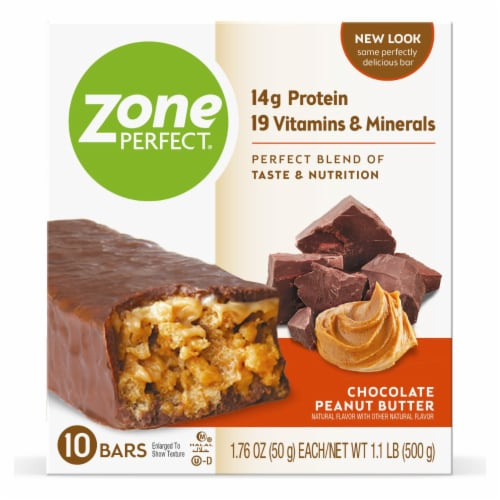 ZonePerfect Chocolate Peanut Butter Nutrition Bars Perspective: front