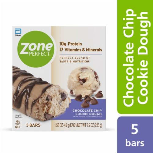ZonePerfect Chocolate Chip Cookie Dough Bars Protein Bars Perspective: front