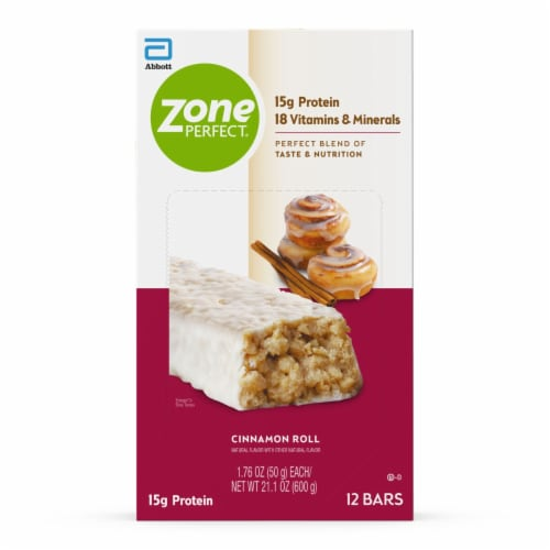 ZonePerfect Cinnamon Roll Nutrition Bars Perspective: front
