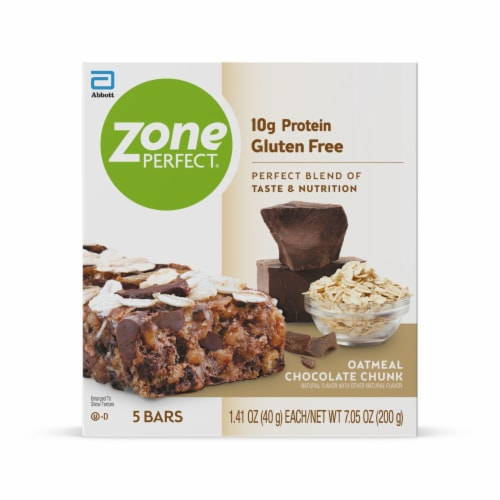 ZonePerfect Oatmeal Chocolate Chunk Bars Protein Bars Perspective: front