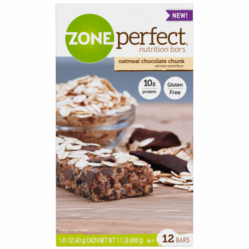 ZonePerfect Oatmeal Chocolate Chunk Nutrition Bars Perspective: front