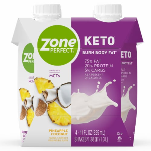 ZonePerfect Keto Pineapple Coconut Ready-to-Drink Shakes Perspective: front