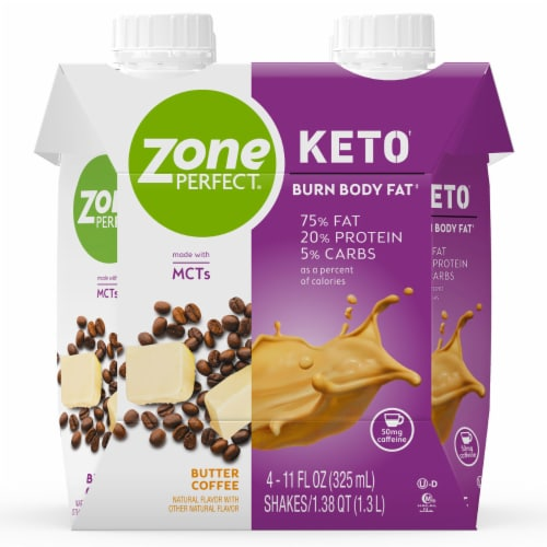 ZonePerfect Keto Butter Coffee Protein Shakes Perspective: front